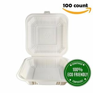 Food Containers Eco friendly 8 X 8 1 Compartment 100 Count Ivory