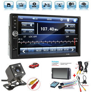 2 Din 7 Touch Screen Fm Radio Audio Stereo Car Video Player hd Camera