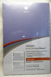 Contacts Smartplanner Levenger Circa Refill Junior Size Free Shipping