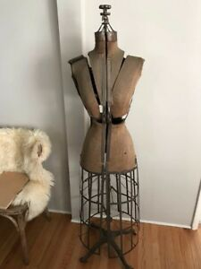 Antique Dress Form With Metal Cage Bottom Wooden Casters
