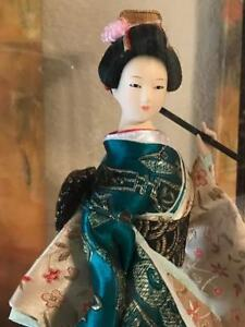 Japanese Geisha Doll In Plastic Case Beautiful Doll Excellent Condition