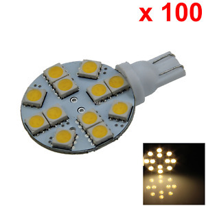 100x Warm White Auto T10 W5w Wedge Light Parking Bulb Apolar 12 5050 Smd Led A01
