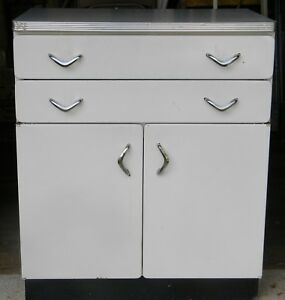 Vintage Mid Century White Metal Kitchen Utility Room Cabinet W Formica Top