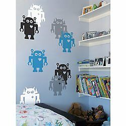 Thin Vinyl Film Sticky Retro Giant Robots Wall Stickers Decal 14 2 Pcs