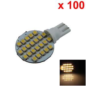 100x Warm White Car T10 W5w Side Light Lamp Marker Lamp Apolar 24 3528 Smd Led A