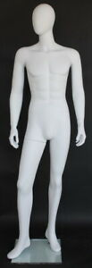 New 6 Ft 2 In H Male Abstract Head Mannequin White Colored Finished Sfm65e wt