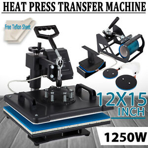5 In 1 Heat Press Machine Digital Transfer Sublimation T shirt Mug Hat Plate Cap