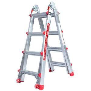 En131 4x4 Adjustable 13 Ft Aluminum Telescoping Multi position Multi use Ladder