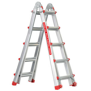 En131 5x4 Adjustable 17 Ft Aluminum Telescoping Multi position Multi use Ladder