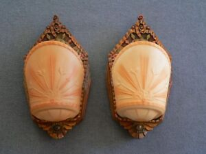 Antique Art Deco Slip Shade Pair Of Sconces By Beardslee With Original Shades