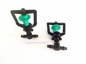 50pcs Greenhouse Humidifier Irrigation Rotating Nozzle Sprinkler 4mm Hose Tee