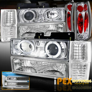 1994 1998 Chevy Silverado Tahoe 10pcs Halo Projector Led Headlights Tail Light
