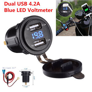 Waterproof Dual Usb Charger Socket Voltmeter For 12 24v Car Truck Motorcycle