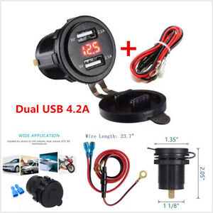 4 2a Dual Usb Charger Socket Red Led Voltmeter For 12v 24v Car Truck Motorcycle