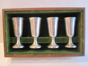Vtg Set 4 Wallace Sterling Silver Cordials Cups Wood Box Weight Approx 70 Grams