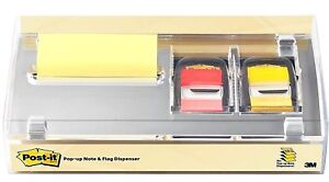 Post it Pop up Note Label Dispenser Set Of 3 Yellow 3x3 Pad Yel red Flags 3m