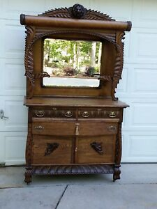 Antique Oak Sideboard Buffet American 1900 Heavily Carved Lion Head Paws