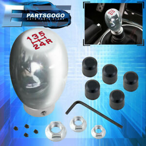 Universal 5 Speed Manual Transmission M T Chrome W Red Lettering Shift Knob