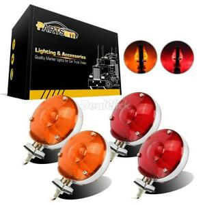 4x 12v Truck Trailer Tail Lights Turn Signal Stop Assembly Double Face Red amber