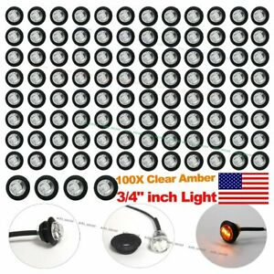 100x 3 4 Clear Amber Led Clerance Marker Bullet Lights Lamps Truck Trailer Bus
