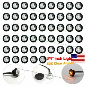 50x 3 4 Clear Lens Amber Light Led Marker Bullet Lights Lamps Truck Trailer Bus