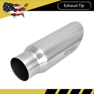 Diesel Stainless Steel Exhaust Tip Angle Cut 3 Inlet 4 Outlet 12 Long Weld On