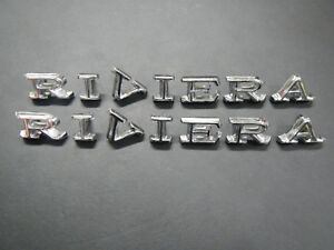 1968 1969 Buick Riviera Front Fender Letters Emblem Set Badge Pair 2 68 69