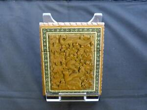 Antique Indian Sandalwood Card Case Carved Foliage Animals Mid 19th Century