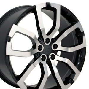 22 Machined Black Fits Land Rover Range Rover Wheel 22x10 Set Of 4 Rims Cp