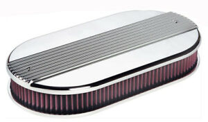Billet Specialties 15650 Ribbed Oval Dual Quad Air Cleaner Polished