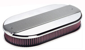 Billet Specialties Blt15650 Ribbed Oval Dual Quad Air Cleaner Polished