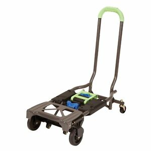 Green 4 Wheel Hand Truck Transport Dolly Cart Folding Portable Metal Trolley