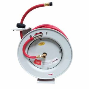 Hsr50 ha Retractable Air water Hose Reel With 3 8 X 50 Feet Rubber Hose