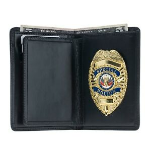 Police Leather Badge Wallet Universal Fit pin Back Badge Black