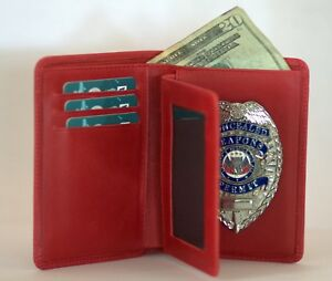 Police Leather Badge cred Wallet Red All Leather fits All Badge Shapes