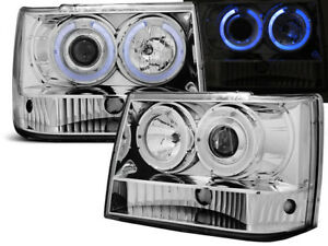 Headlights Lpch11 Jeep Grand Cherokee 1993 1994 1995 1996 1997 1998 Chrome