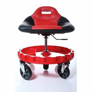 Garage Mechanic Mobile Work Seat Red Roller Gear Tool Tray Station Adjustable