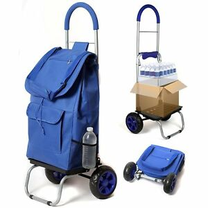 Blue Fabric Foldable Shopping Cart Market Trolley Dolly Removable Grocery Bag