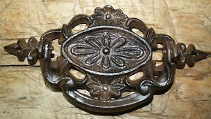4 Cast Iron Antique Victorian Style Oval Drawer Pull Barn Handle Door Handles