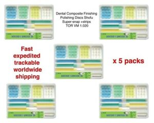 5 Packs Of Dental Finishing Polishing Discs Shofu Super snap strips Tor Vm 1 020