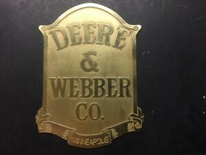 New Deere Webber Etched Brass Tag Antique Gas Engine Hit Miss