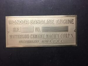 New Wonder Cement Waterloo Brass Data Tag Antique Gas Engine Hit Miss