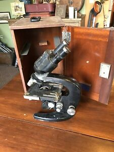 Vintage Or Antique Carl Zeiss Jena 15x Bi ocular Microscope With Wood Case