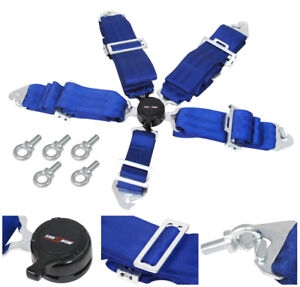 3 Blue 5 Point Harness Cam Lock Racing Seat Belt Support Shoulder Quick Latch