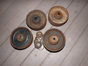 4 Vintage Rustic Metal Cast Iron Industrial Caster Cart 5 Wheels