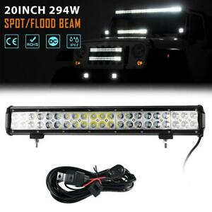 20 inch 294w Cree Led Light Bar Spot Flood Offroad 4wd 4 4 Truck wiring Harness
