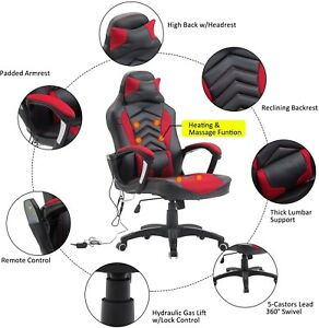 Ergonomic Pu Leather Heated Vibrating Massage Office Desk High Back Chair Red