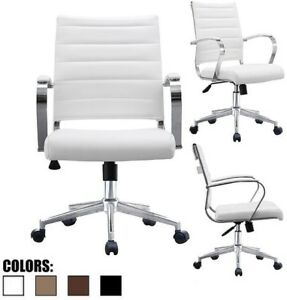 Modern Office Executive Conference Desk Chair Mid Back Ribbed Pu Leather White