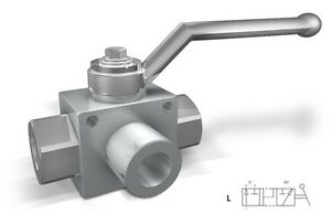 Hydraulic High Pressure 3 Way Steel Ball Valve With Fixing Holes 3 4 bsp 5075psi