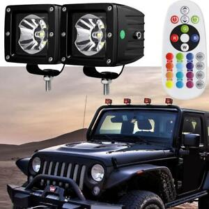 3 inch Led Multi Color Light Rgb Dually Pods Backlight Offroad Driving For Jeep